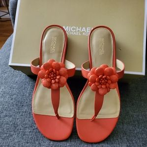 New Michael Kors Dalia Flat Leather Sandal size 7